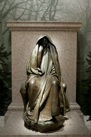 Adams Memorial bronze, cast 1969 by Augustus Saint-Gaudens, memorial to writer Henry Adams wife who committed suicide in 1885