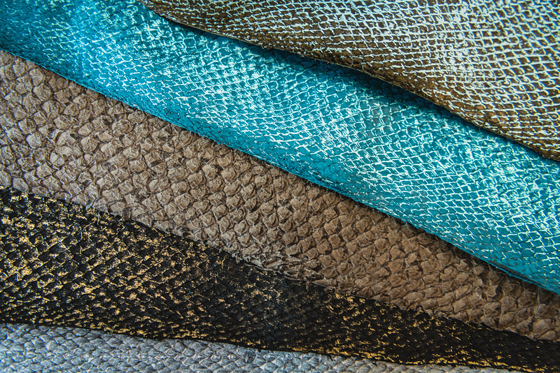 Fish leather made by a family-owned company called Atlantic Leather, based in the north coast of Iceland. The company gets discarded salmon, cod, wolffish, and perch skins from sustainable stocks, via Icelandic, Norwegian and Faroe Islands fishing fleets. The tanning process is environmentally friendly as it uses only natural, non-polluting dyes.