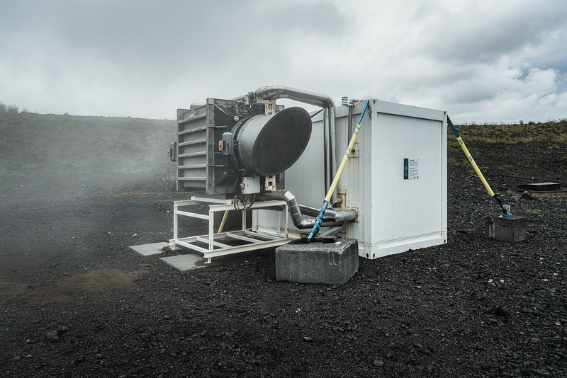 The pilot plant of Climeworks in Hellisheidi geothermal area. This Swiss company has developed a technology that captures carbon dioxide directly from the air. The air-captured carbon dioxide can either be recycled and used as a raw material, or completely removed from the air by safely storing it. Climeworks direct air capture machines are powered solely by renewable energy or energy-from-waste. The current yield is 90%, meaning that out of 100 tons of carbon dioxide captured from the air, at least 90 tons are permanently removed. Leading scientific studies indicate that by mid-century 10 billion tons of carbon dioxide will need to be removed from the air every year. Direct air capture is one solution that can help achieve this goal.