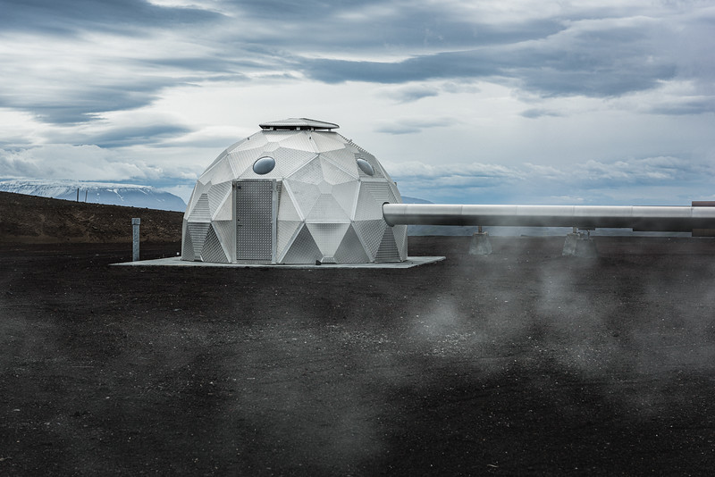 A borehole at Hellisheiði Geothermal plant, in Hengill. Hot fluid is extracted through 30 wells at a depth of 2,000m to 3,000m. Geodesic domes over each borehole help reduce the visual blot on the landscape.