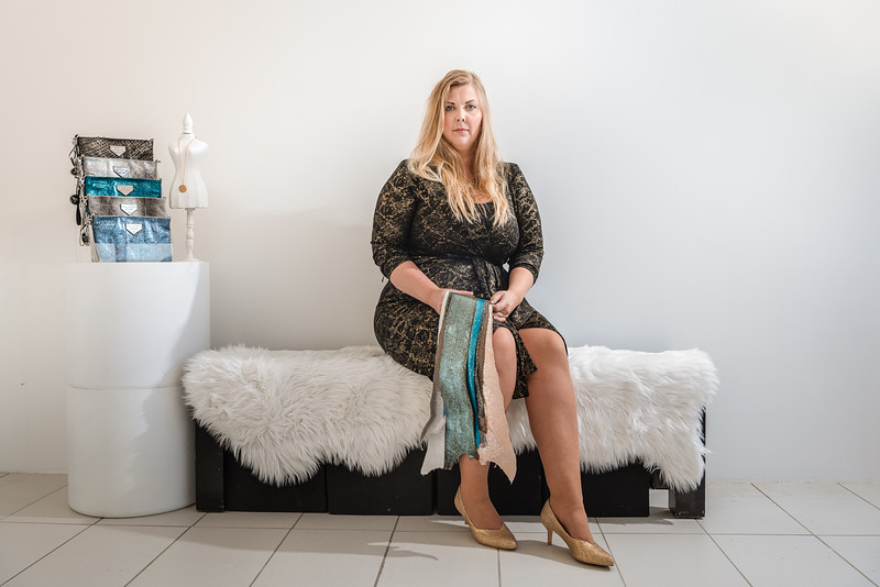 Halldóra Eydís, in her showroom in Reykjavik. Halldora created a fashion brand focused on making comfortable and fashionable shoes that uses sustainable raw materials, like Icelandic fish skin and horse hairs.