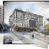 San Francisco's Fairmont Hotel was about to open when the 1906 earthquake hit the city.  The hotel withstood the quake but then suffered severe fire damage which delayed the opening for about a year.  The hotel at Nob Hill is also located at the only spot where each of the cable car lines meet (Photos 1906 and 2015).