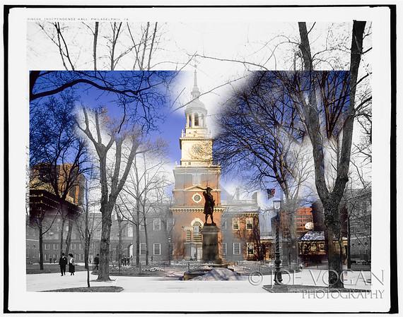 Independence Hall, Philadelphia, Pennsylvania (circa 1905 and 2002).