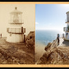 The Point Reyes Lighthouse in the Gulf of Farallones in Marin County, California was established in 1870 and automated in 1975.  (Photos: 1870 and 2015)