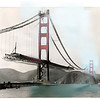 San Francisco's Golden Gate Bridge under construction in 1937.  (Photos 1937 and 2015).