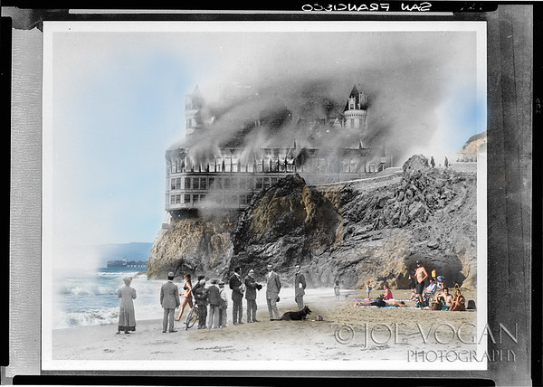 Cliff House, built in 1896, survived the 1906 earthquake but was destroyed the next year by  fire at Point Lobos, San Francisco, California (photos: September 1907 and 2015)