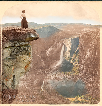 Nearly a mile straight down and only a step--from Glacier Point (N.W.) across valley to Yosemite Falls, Yosemite National Park, California (circa 1902 and 2015).