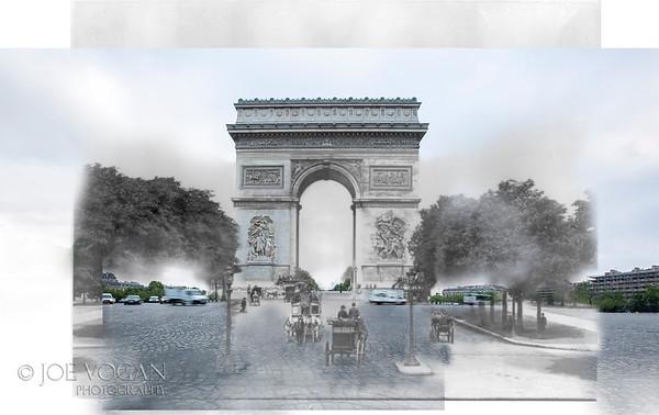 Arc de Triomphe, Paris, France- L'Arc de Triomphe de l'Étoile; variety of horse-drawn vehicles on Champs-Élysées (circa 1900 and 2015).