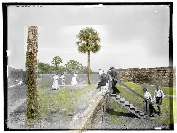 Golfing at Fort Marion, St. Augustine, Florida (circa 1902 and 2015)