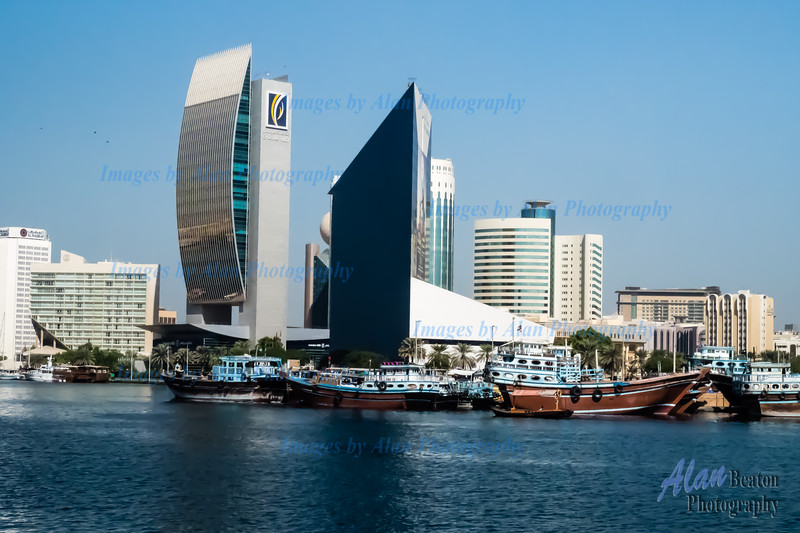City architecture lining Dubai Creek