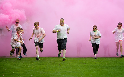 Highland Hospice, Inverness charity event; Run For Colour. Runners ran 5K getting covered in coloured powder.  Picture: Paul Campbell
