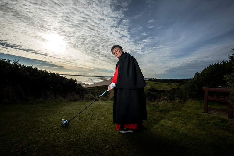 Rev. Susan Brown is pictured on the Royal Dornoch Golf Club.<br /> <br /> Photo: Paul Campbell.