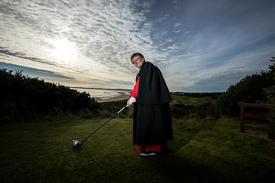 Rev. Susan Brown is pictured on the Royal Dornoch Golf Club.  Photo: Paul Campbell.