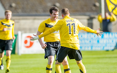Conor Gethins scores Nairn County's equaliser and is congratulated by Andrew Neill who scored the winner for the Highland League side. Picture: Paul Campbell