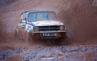 Snowman Rally 2016. Stephen Fraser and Gareth MacMillan put their trust in an old British Leyland Mini on stage 2. Picture: Paul Campbell.