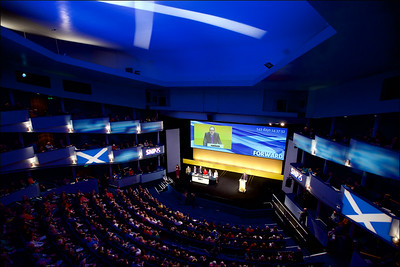 Delegates give Alex Salmond, Scotland's First Minister a rousing welcome at the SNP Spring conference in Inverness. Picture by Paul Campbell