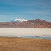 Bonneville Salt Flats with Silver Island Mountains in the distance.