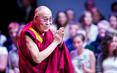 His Holiness the 14th Dalai Lama speaking at Eden Court Theatre in Inverness. Picture: Paul Campbell