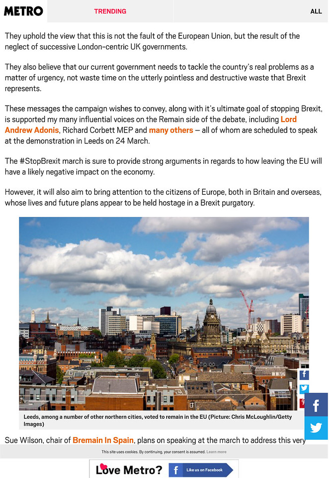 I'm supporting the #StopBrexit Great Northern March â•fi here's why | Metro News