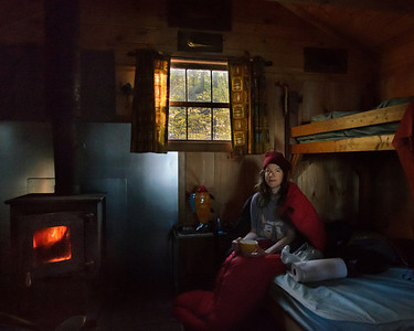Breakfast in our cabin by the fire, Ponkapoag, Blue Hills MA