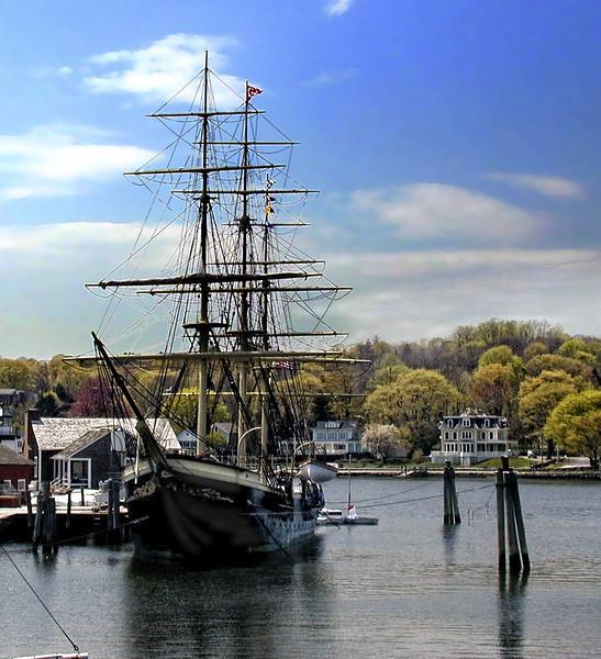 Fine Houses & Three Masted Vessel