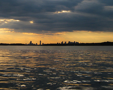 Boston skyline at sunset, Peddocks Island MA