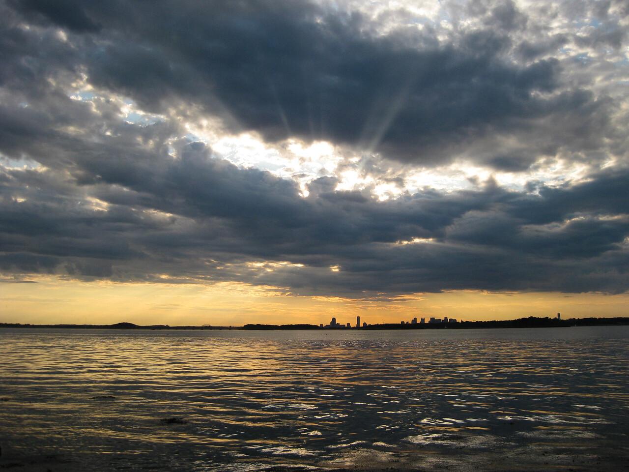 View of Boston at sunset,  Peddocks Island MA