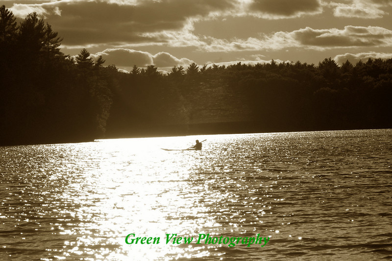 Kayaker on Walden Pond