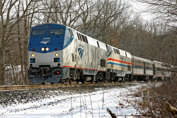 """With Amtrak 205 leading Heritage Unit 822, train 449 rolls past MP60, Spencer, MA. Note the ancient """"B 60"""" mile marker in the lower right corner. 01/25/2013 - 598C5678dK"""