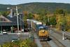 CSX train Q264 eastbound past the historic depot at MP83, Palmer, MA. 10/08/2013 - 598C8635dK1