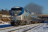 Amtrak Vermonter heads west out of the yard at MP83, Palmer, MA. 1/3/2013 - 598C5453dK