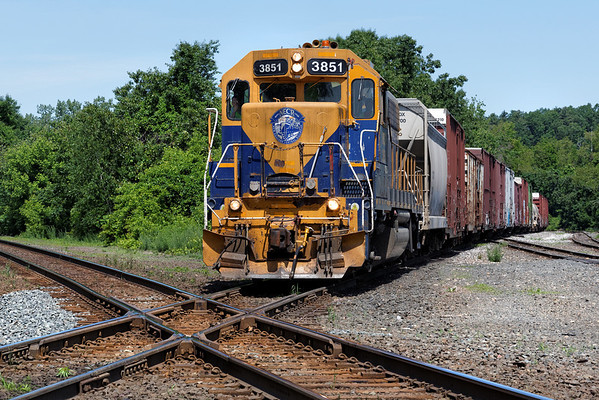 NECR 3851, southbound, approaching the CSX diamond at MP83, Palmer, MA. 6/5/2013 - 598C0433dK