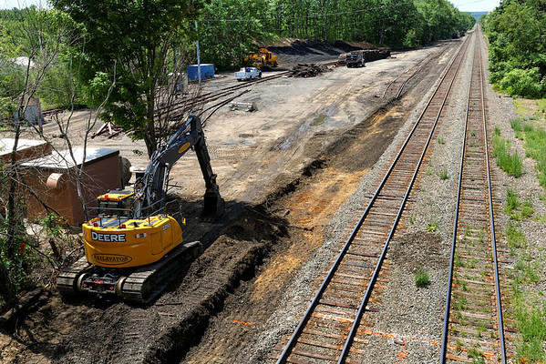 Preparations for the undercutting program on the CSX Boston Line are well underway. Here, at MP64 in East Brookfield, MA, some of the track in the old yard has been removed and trenching is almost complete. Won't be long now! 6/4/2013 - 598C0403dK