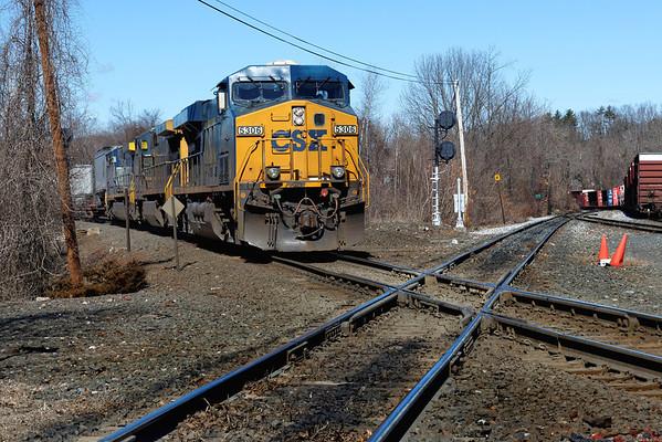 CSX train Q022 coming up on the diamond at MP83, Palmer, MA. 3/29/2013 - 598C7761dK