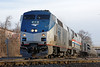 At track speed, Amtrak 449 rattles across the diamond at MP83, Palmer, MA. 12/30/2013 - 598C1829dK