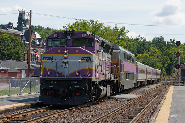 MBTA #1115 leads a westbound express through Ayer on the way to Fitchburg, MA. 8/16/2913 - 598C5799dK