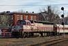 MBTA GP40 #1130 pulls into the station at Ayer, MA. 3/13/2013 - 598C7313dK