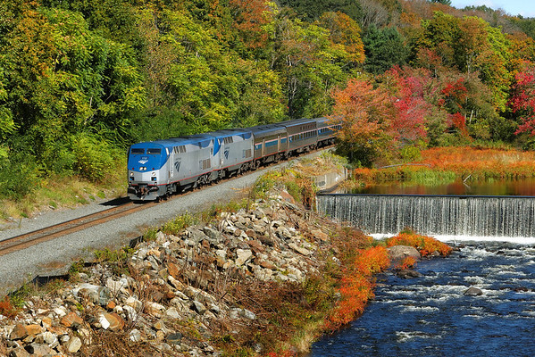Amtrak 449 running on time through the early Fall color at MP75, West Warren, MA on the CSX Boston Line. 9/25/2013 - 598C8331dK