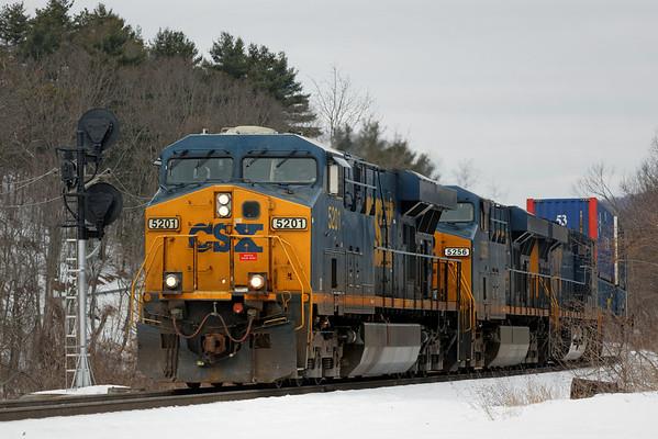 CSX train Q022 just west of the diamond at MP83, Palmer, MA. 2/13/13 - 598C6159dK
