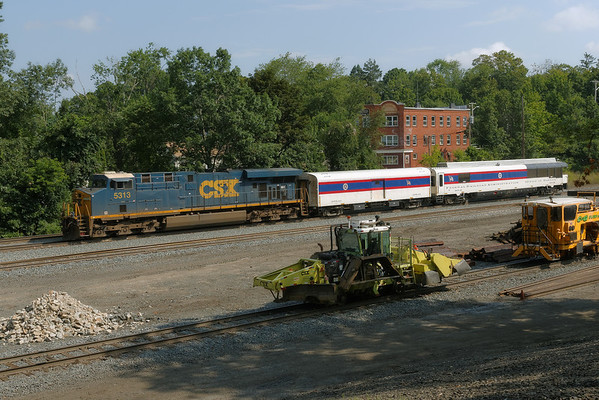 FRA inspection train heads west through MP64, East Brookfield, MA. 8/1/2013 - 598C3959dK