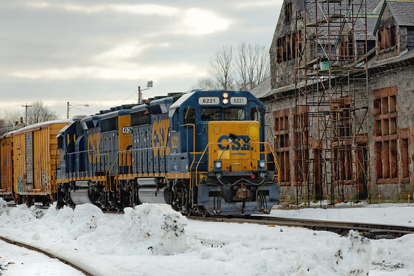 train B740, the Springfield Local, heads west out of the CSX yard, past the Palmer Depot. 2/13/13 - 598C6168dK