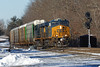 After dropping a string of auto racks for the East Brookfield & Spencer RR, CSX train Q264 pulls onto the single track at MP57, Charlton, MA, with 4 for the P&W in Worcester. 1/27/2013 - 598C5689dK