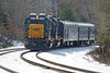 CSX inspection train W001 in the hole just east of MP60, Spencer, MA, waiting for Q022 to cross over onto the siding. 3/22/2013 - 598C7465dK