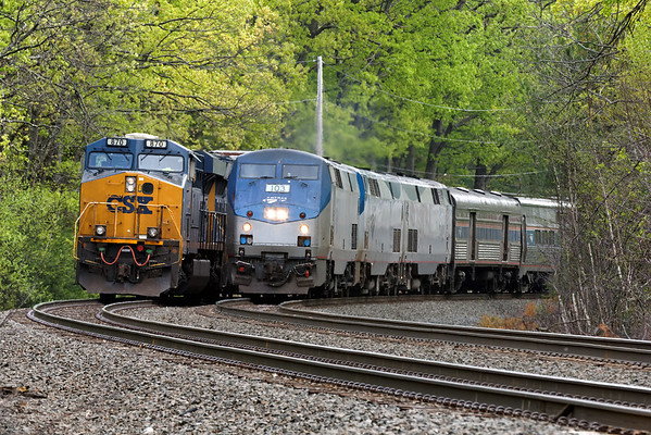 With train S427 in the hole on the siding, Amtrak 449 heads west on the main at MP60, Spencer, MA on the CSX Boston Line. 5/15/2013 - 598C0152dK