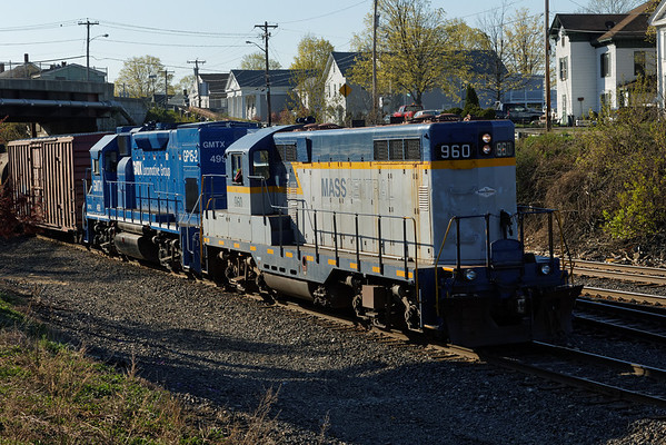 In the early morning light, Mass Central (MCER) 960 and lease unit GMTX 499 pull out of the CSX yard at MP83, Palmer, MA. 5/1/2013 - 598C9223dK