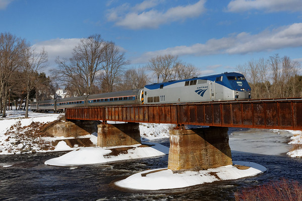 "Amtrak's ""Vermonter"" running south over the bridge in Three Rivers, MA. 2/13/13 - 598C6217dK"