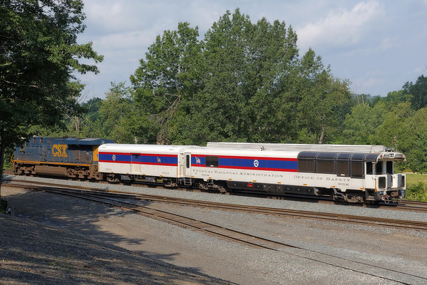 FRA inspection train heads west through MP64, East Brookfield, MA. 8/1/2013 - 598C3962dK
