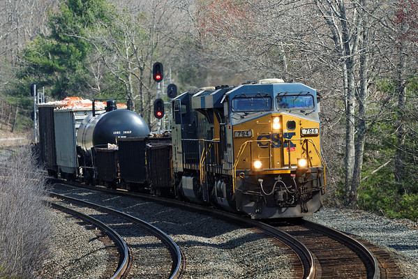 On a beautiful early Spring afternoon, a diminuitive Q437 eases through the S-curves at MP60, Spencer, MA. 4/27/2013 - 598C9166dK