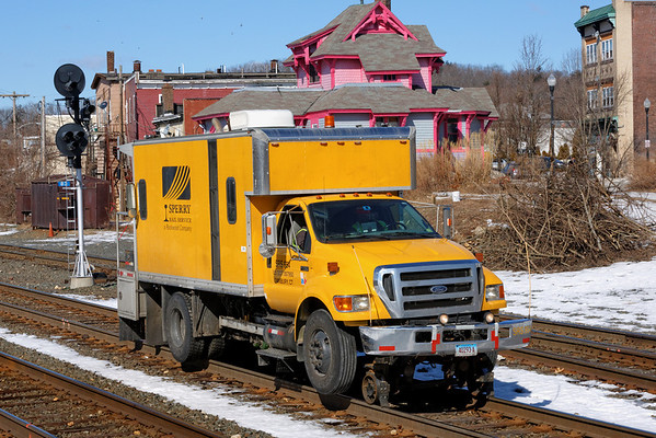 SRS truck 954 working the CSX yard at MP83, Palmer, MA. 2/21/2013 - 598C6625dK