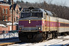 "Outbound ""T"" train pulls into Ayer, MA. 1/8/2013 - 598C5498dK"